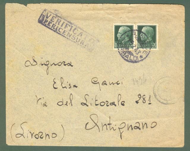 Storia Postale Regno. SECONDA GUERRA. R. NAVE GARIBALDI. lettera per Antignano (Li) del 19.07.1943.