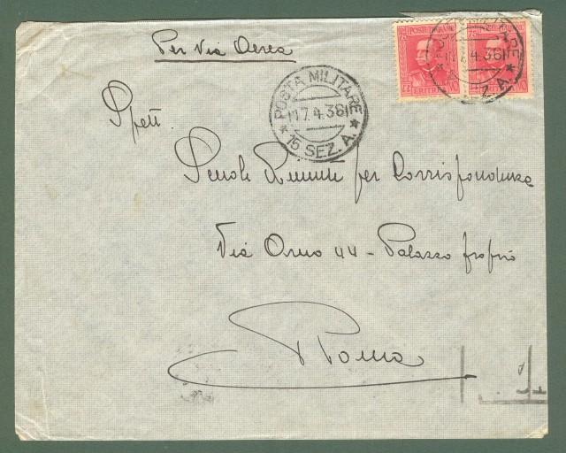 Storia postale Regno. GUERRA D'AFRICA. POSTA MILITARE + 15 SEZ. A...su lettera del 17.04.1936.