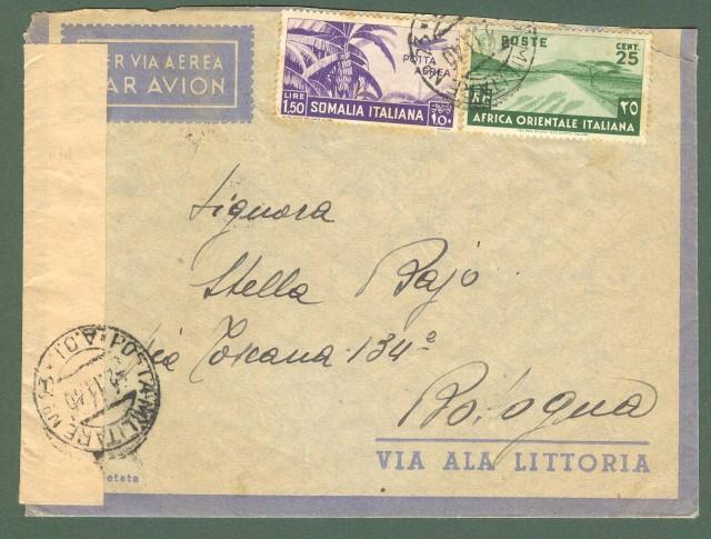 Storia postale Regno. GUERRA D'AFRICA POSTA MILITARE N.23 A.O.I..  Lettera per Bologna del 2.11.1940.