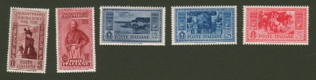 COLONIE ITALIANE. Emissioni Generali. 1932. Cinquantenario garibaldino. Serie 2 (17 valori), posta ordinaria + posta aerea + espressi aerei.