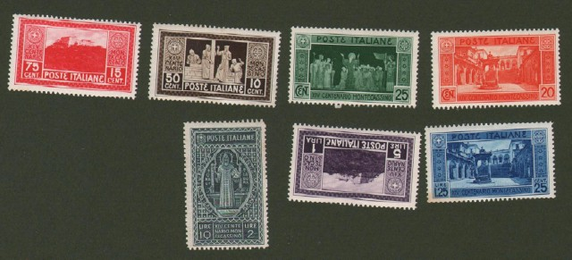 Regno d'Italia. 1929. Centenario Monte Cassino. Sassone serie 52, 7 valori nuovi senza traccia di linguella.