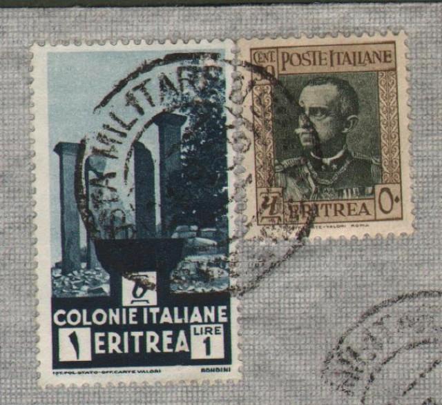 Regno. GEURRA D'AFRICA. Posta militare 92 * EMISSIONE A annullatore di cent. 50 e lire 1 Eritrea su aerogramma del 21.9.1936 per Roma.