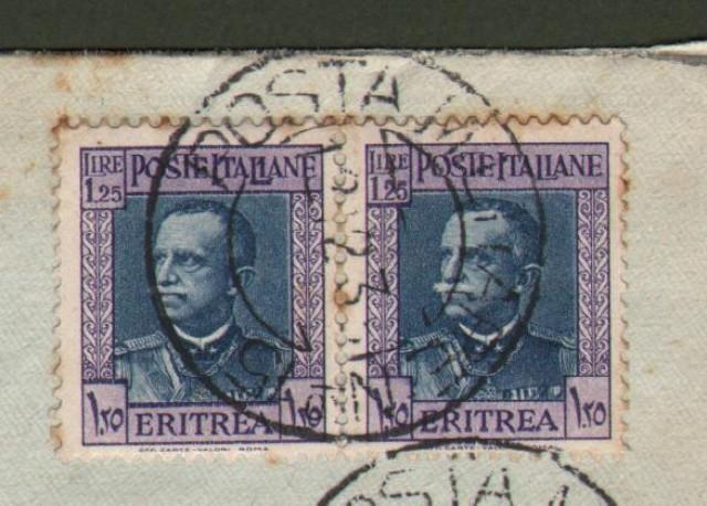 Regno. GUERRA D'AFRICA. POSTA MILITARE N. 15 annullatore di due pezzi lire 1,25 Eritrea su lettera aerea del 12.12.1935 per Narni.
