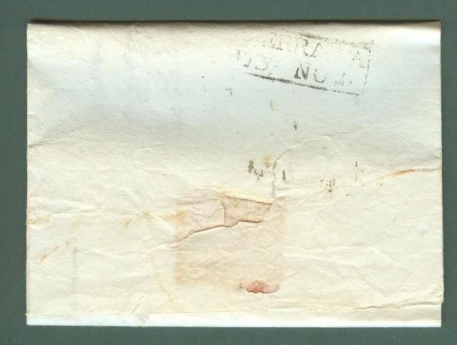 Prefilatelia. TOSCANA. 112 PRATO bollo nero su lettera del 10 Novembre 1809 per Ferrara.