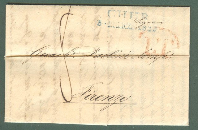 Prefilatelia. TOSCANA - SVIZZERA. Lettera del 1826 da Nachod (Svizzera) per Firenze.