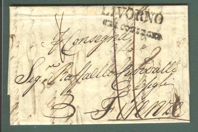 Prefilatelia. TOSCANA. PER CONSEGNA, bollo nero su lettera da Livorno per Firenze del 21 Settembre 1825.