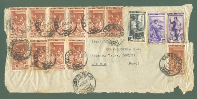 Storia postale Repubblica. FRONTESPIZIO di lettera aerea del 3 Ottobre 1951 per Lima (Perà¹).