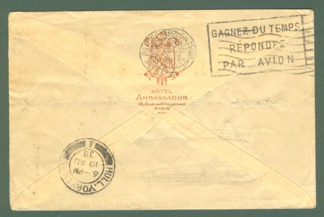 Storia postale estero. FRANCIA, FRANCE. Lettera aerea del 1938 da Parigi per l'Inghilterra.