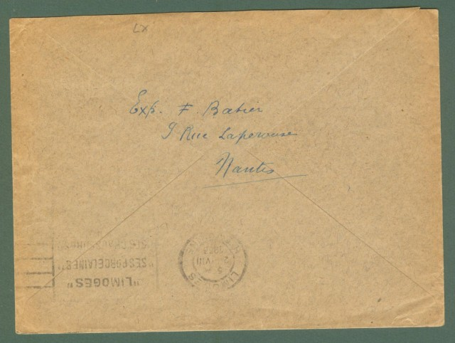Storia postale estero. FRANCIA, FRANCE. Lettera del 1933 da Nantes a Limoges.