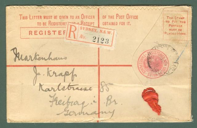 Storia postale estero. AUSTRALIA. SOUTH WALES. Registered 1911 Sidney - Freiburg.