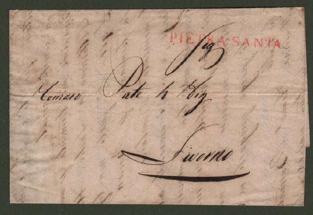 Prefilatelica. PIETRASANTA. Lettera da Serravezza del 24.4.1838 per Livorno.