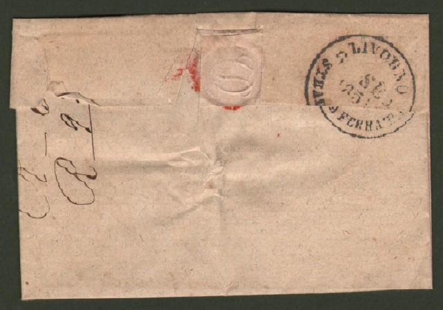 Prefilatelica. TOSCANA. MANCIANO. STRADA FERRATA. Lettera del 1.9.1851 da Manciano per Livorno.