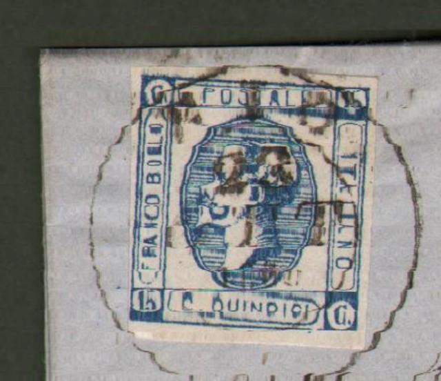 Antichi Stati. TOSCANA. RIO doppio cerchio grande, annullatore di cent. 15 azzurro (Sassone n. 13) su lettera del 23.10.1863.