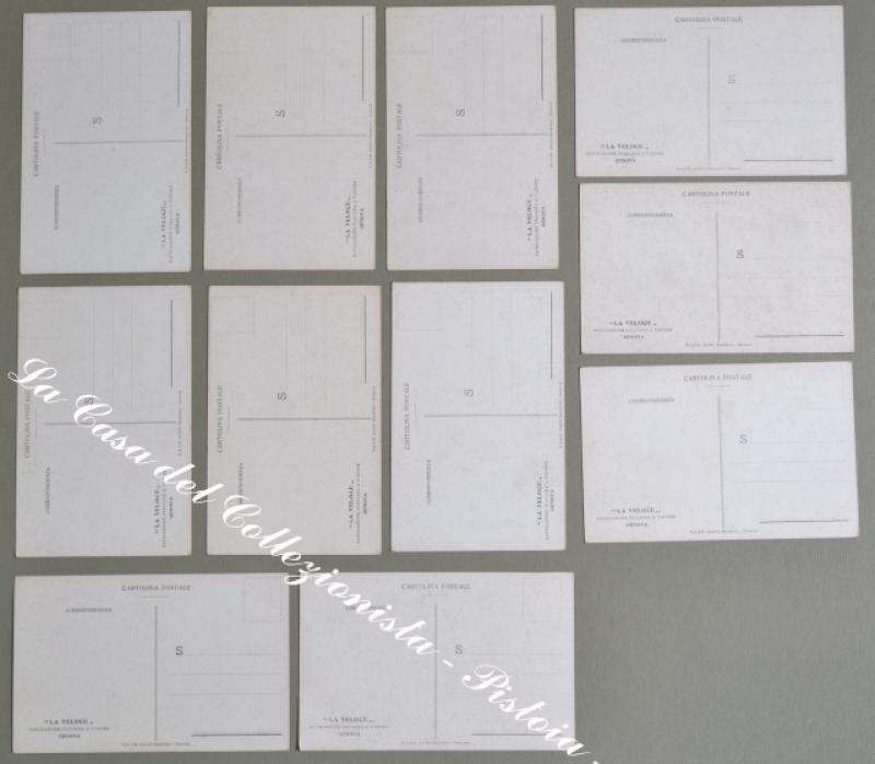 RISORGIMENTO. Undici cartoline d'epoca a colori edizioni Barabino di Genova. A retro pubblicità LA VELOCE...