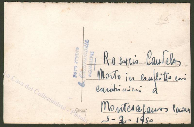 Palermo. Brigantaggio - Banditismo. Cartolina fotografia raffigurante il corpo di Rosario Candela