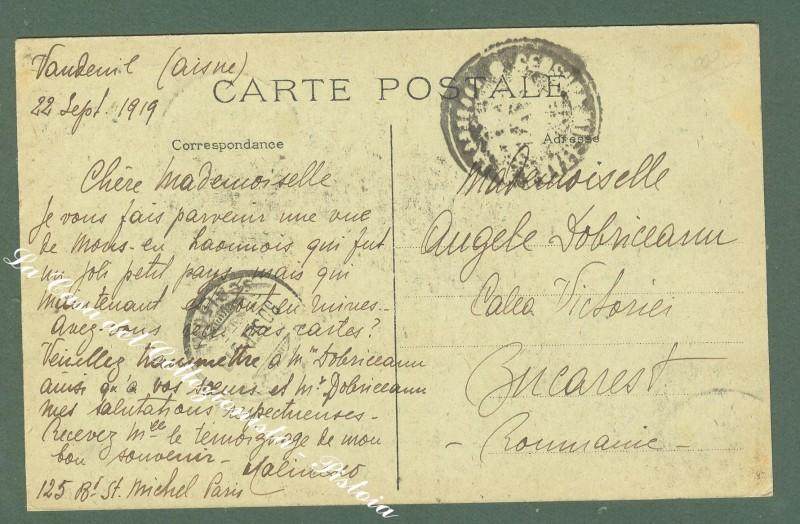 France, Picardie, Aisne. MONS EN LAONNOIS. La grand Rue. Anno 1919.