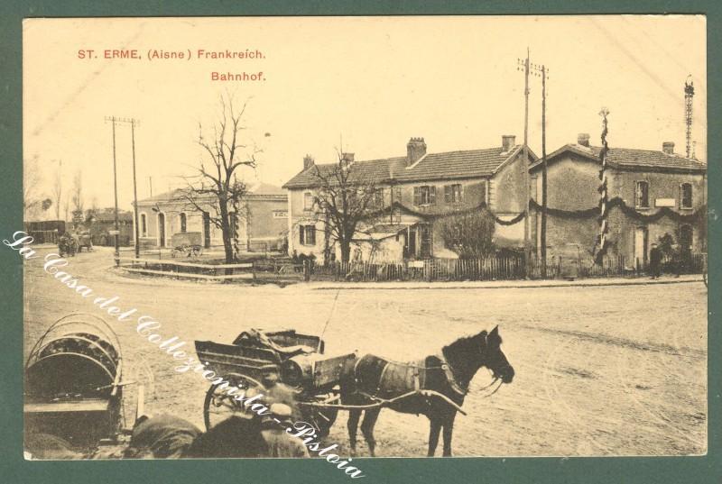 France, Picardie, Aisne. ST. ERME, Bahnhof. Cartolina d'epoca, circa 1915