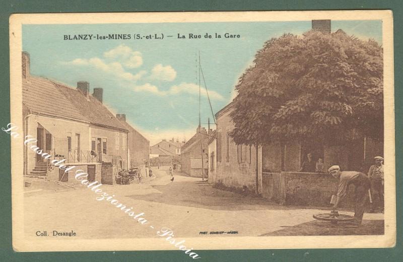 France, Borgogne, Saone et Loire. BLANZY LES MINES. La Rue de la Gare. Cartolina d'epoca, circa 1915.