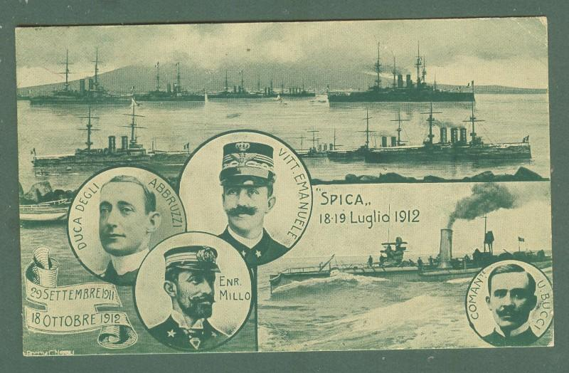 RIVISTA NAVALE NAPOLI 1912.  Cartolina d'epoca