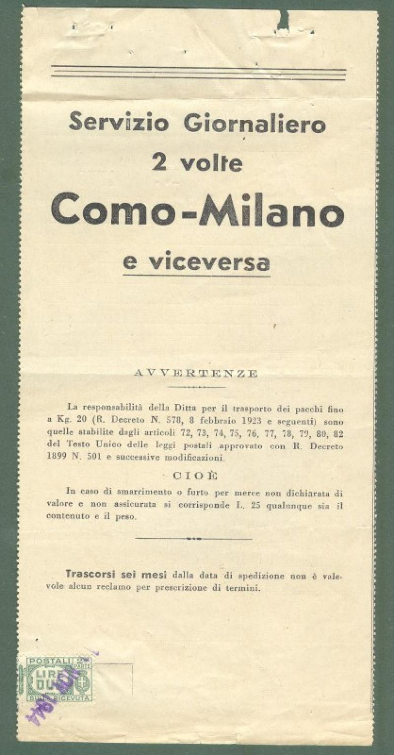 REPUBBLICA. SOCIALE. Bolletta di consegna del 11.11.1944