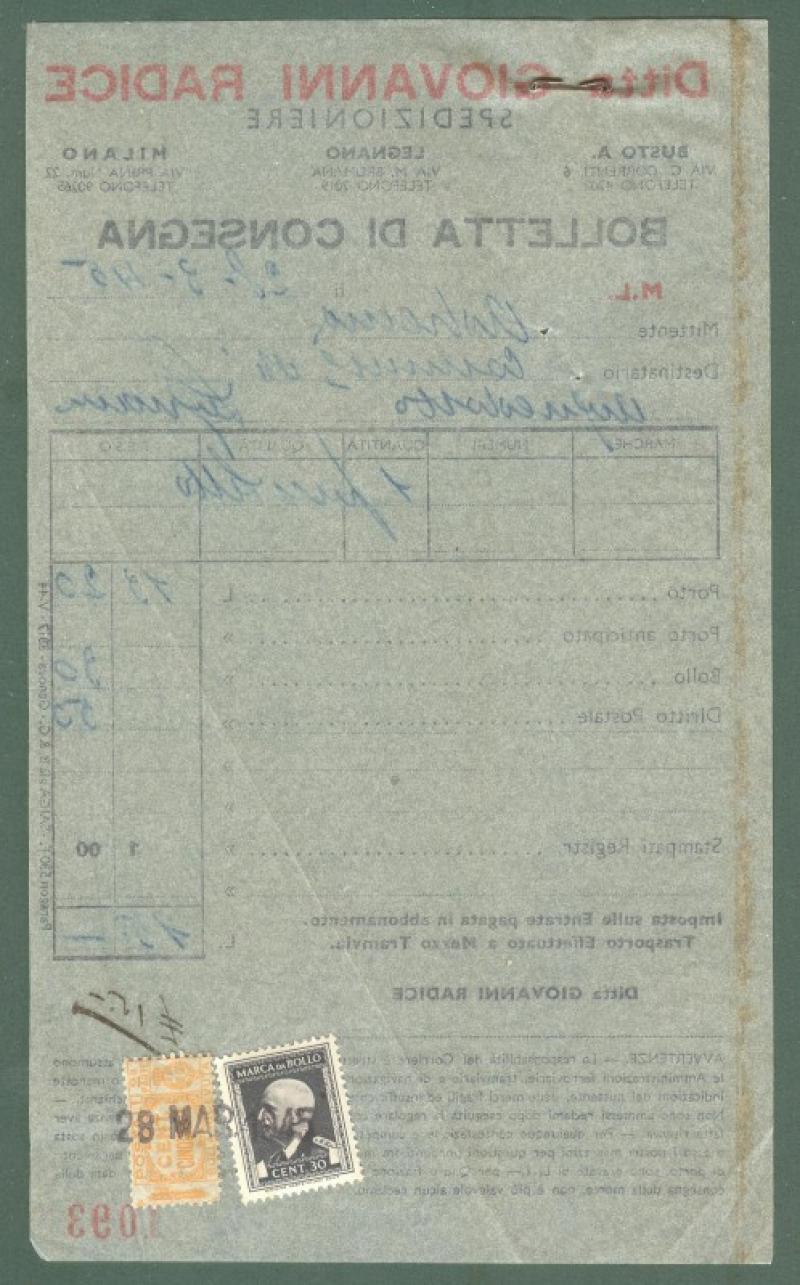 Storia postale. REPUBBLICA SOCIALE. Bolletta di consegna del 28.3.1945