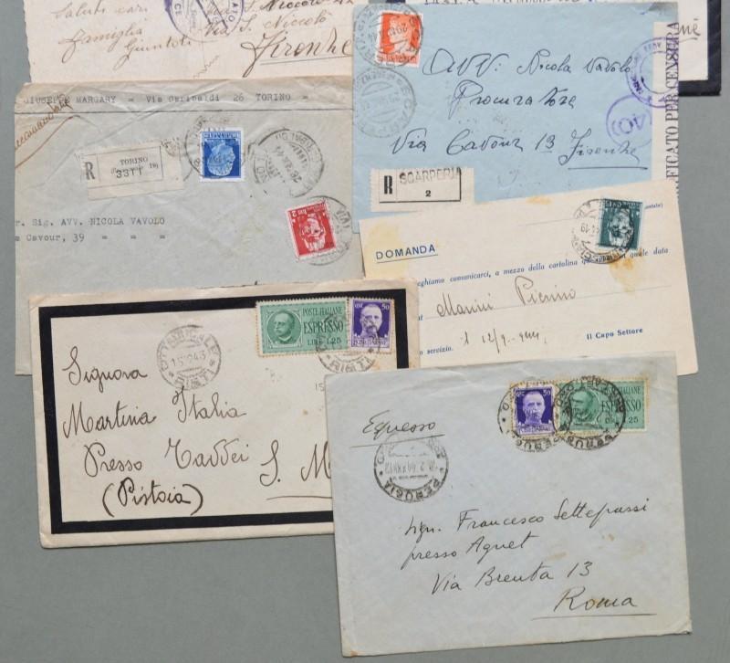Storia postale. REPUBBLICA SOCIALE ITALIANA. 13 affrancature, periodo novembre 1943 - aprile 1945