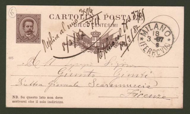 FERRAVILLA EDOARDO (Milano 1846- 1916). Attore italiano.  Cartolina postale del 18.3.1887 da Milano diretta alla direzione del giornale Scaramuccia di Firenze.