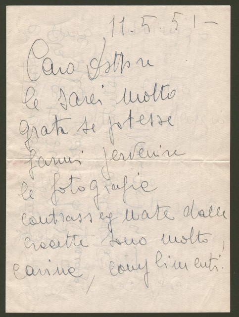 MERLINI MARISA (Roma 1923-Roma 2008), celebre attrice italiana. Lettera del 11.5.1951. Bifolio di cm 17x23.