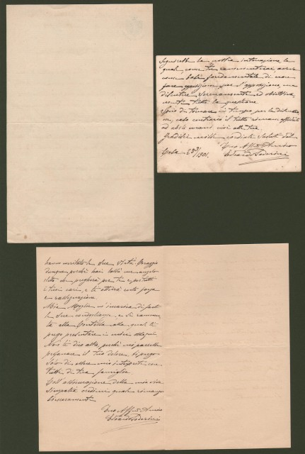 SODERINI EDOARDO (Roma 1853 - Roma 1934). Tre lettere autografe e firmate (1899-1901).