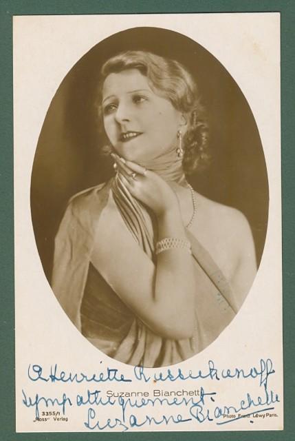 SUSANNE BIANCHETTI (Parigi 1889 - 1936). Attrice cinematografica francese. Dedica e firma autografa.