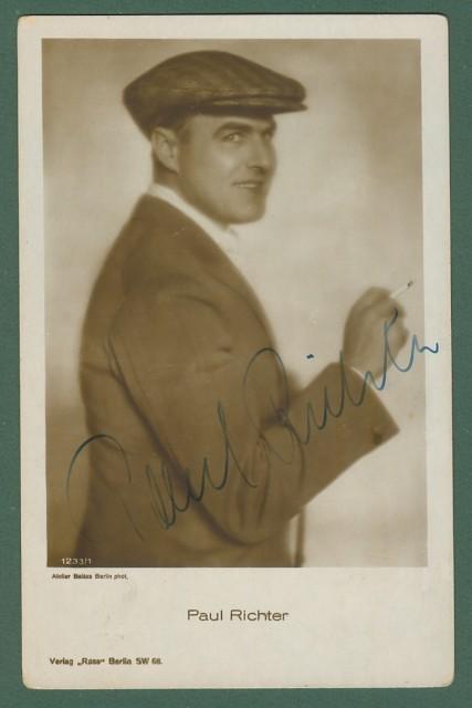 RICHTER PAUL (Vienna 1895 - Vienna 1961). Famoso attore cinematografico austriaco. Firma autografa, Circa 1930.