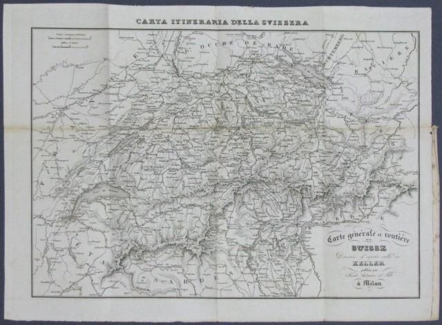 SVIZZERA, Carte generale et routiere de la Suisse dresà¨e d''aprà¨s celle de Keller.