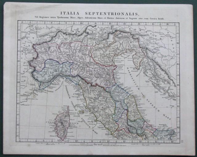 ITALIA. Italia Septentrionalis. Carta geografica colorata all''epoca