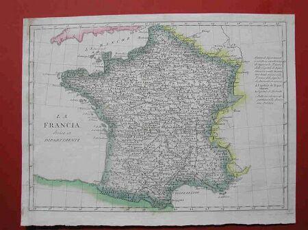 La Francia divisa in dipartimenti.