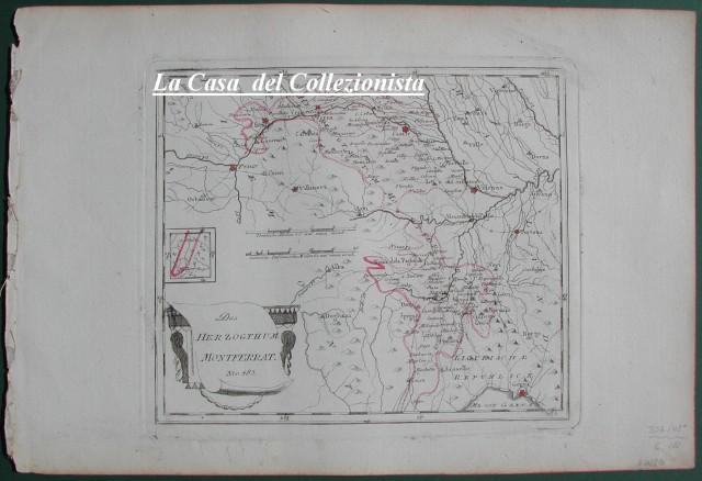 PIEMONTE. Das Herzogthum Montferrat. Bella carta lievemente acquarellata raffigurante il Monferrato e parte dei territori vicini.