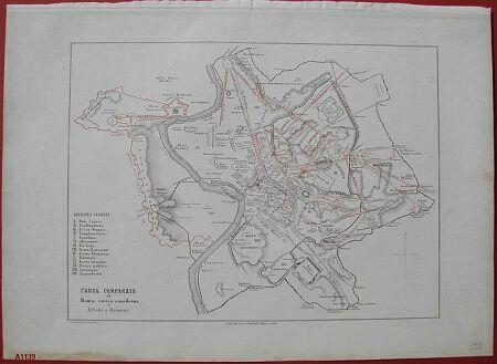 ROMA, carta comparata della città antica e moderna'.