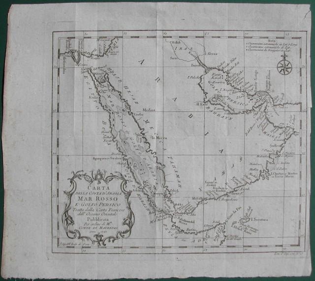 Carta della Costa d'Arabia, Mar Rosso e Golfo Persico