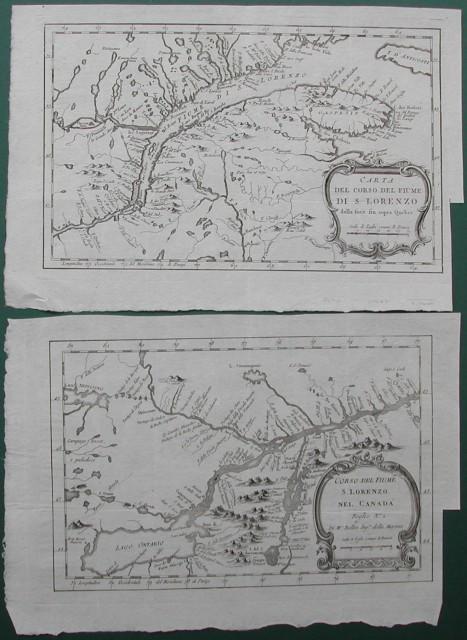 Carta del corso del fiume di S. Lorenzo dalla foce fin sopra Quebeck