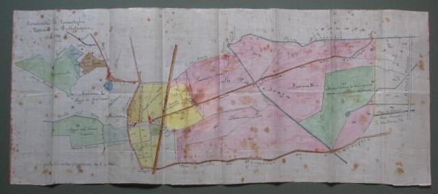 TOSCANA - CAMPIGLIA. Comunità di Campiglia. Fattoria di Pulleraja. Mappa realizzata su carta cerata