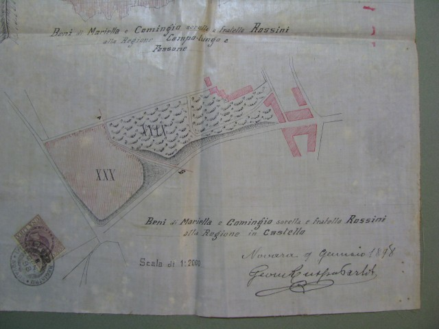 Novara - Cavagliano Novarese. Mappa relativa ad alcuni appezzamenti di terreno.
