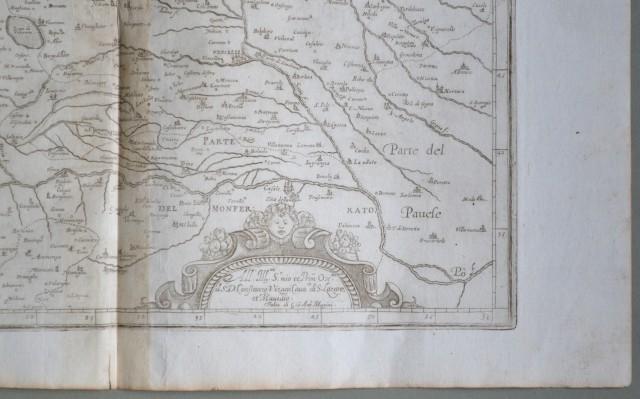 PIEMONTE. Anno 1630. Signoria di Vercelli, raffigura il territorio compreso tra i laghi d''Orta e Maggiore e il corso del Po.