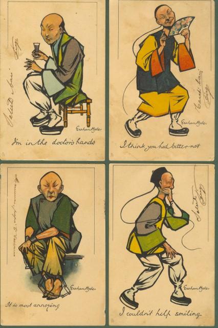 CINA. Otto cartoline umoristiche con soggetto personaggi cinesi.