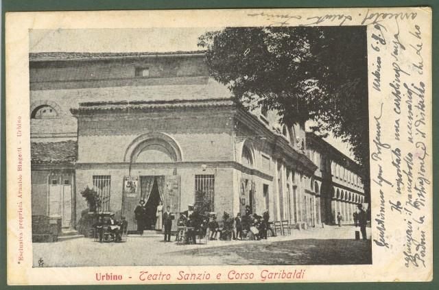 MARCHE. Urbino. Teatro Sanzio e Corso Garibaldi