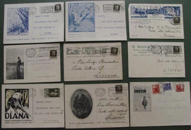 CACCIA. Nove cartoline commerciali a soggetto venatorio