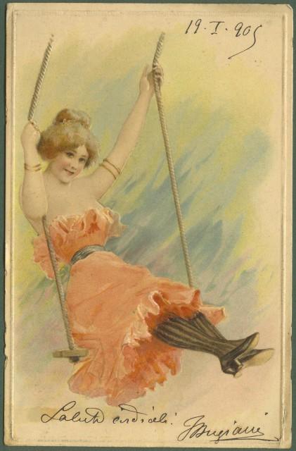 Cartolina d'epoca a rilievo. Viaggiata nel 1905.