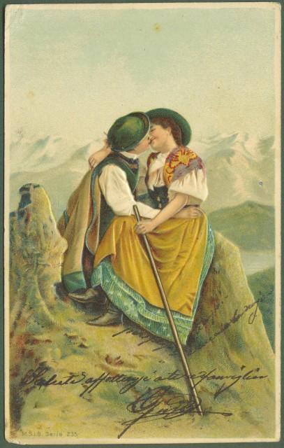 Cartolina d'epoca a rilievo. Innamorati. Viaggiata inizio '900.