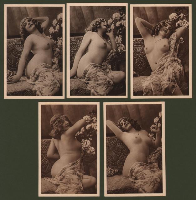 NUDI. Cinque cartoline d'epoca.