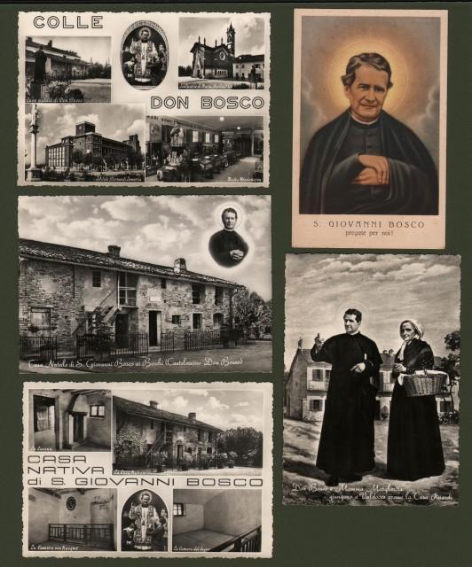 SAN GIOVANNI BOSCO. Cinque cartoline viaggiate nel 1956 entro busta.