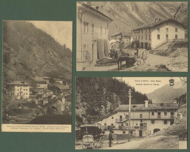 VAL D'AOSTA. Tre belle cartoline nuove (circa 1910)