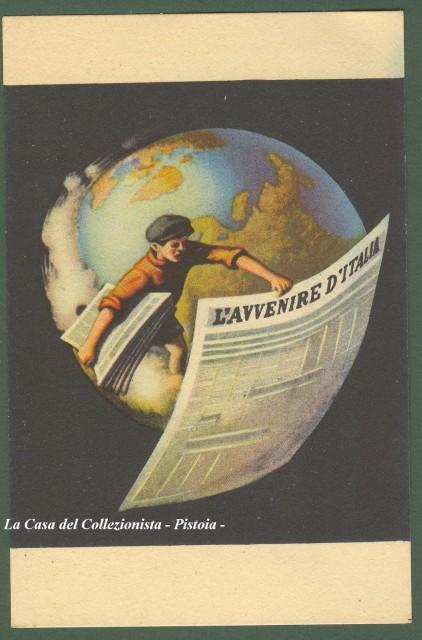 L'AVVENIRE D'ITALIA. Cartolina pubblicitaria disegnata a colori.